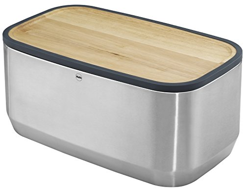 Hailo 0833-950 KitchenLine Design Plus Brotkasten, gebürstetes Edelstahl, Deckel aus Holz als Schneidebrett verwendbar, Brotauflage aus Holz