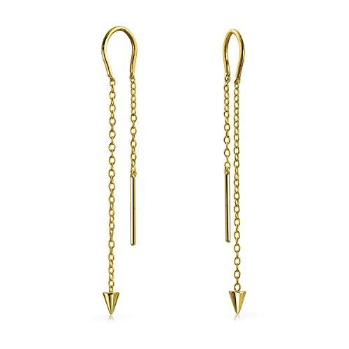 Gold Plated 925 Silver Spike Long Chain Threader Earrings