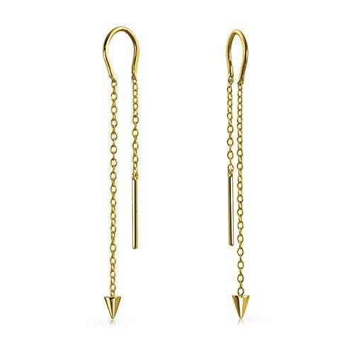 Bling Jewelry Vergoldet 925 Silber Spike lange Kette Threader Ohrringe (Ohrringe Vergoldet-lange)
