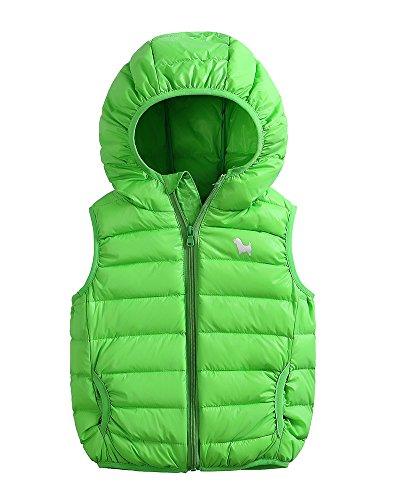 Bambini ragazze ragazzi inverno cappotto con cappuccio leggero gilet giacche 3-10 anni verde 130