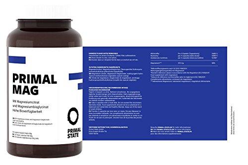 Magnesium Kapseln pur | PRIMAL MAG | Premium Magnesiumcitrat und Magnesium Glycinat Pulver in Kapseln | Frei von Zusatzstoffen wie Magnesiumstearat oder Gelatine | Laborgeprüft | Trägt zu normaler Muskelfunktion bei - 120 Kapseln