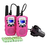 Retevis RT388 Kids Walkie Talkie Pink Rechargeable PMR446 0.5W 8 Channel 2 Way Radio for Children Flashlight with Charger (Pink, 1 Pair)