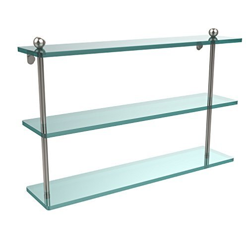 Allied Brass PR-5/22-SN 22 Triple Glass Shelf Satin Nickel by Allied Brass - Triple Nickel
