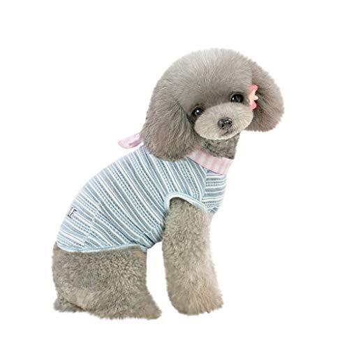 EUZeo Schön Haustier Frühling und Sommer Patchwork Farbe Hundekostüme Pet Kleidung Weste Streifen Shirts Kleidung für Hunde Katze Haustierbekleidung Kleidung für Kleiner Hund Kleine ()