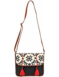 2AM Women's Leather Sling Bag (Black-Red-Blue-Biege)