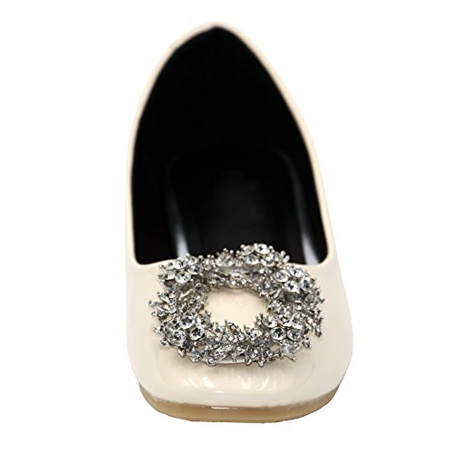 AalarDom Damen Lackleder Weiches Material Ziehen Auf Quadratisch Zehe Flache Schuhe Aprikosen Farbe-Diamanten