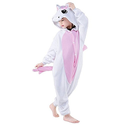 Woneart pigiama bambini tutina costume camicie da notte animale costumi carnevale halloween tuta felpato pigiama unicorno monopezzi regali di natale (115 for 125-134cm, pink uniconr-wings)