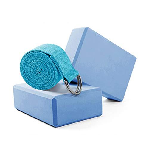 JIAJIAKONG 2 Yoga-Blöcke und Yoga-Gurt-Kombination,leichte Eva-Pilates-Schaumsteine mit hoher Dichte,ideal zum Dehnen des Untergrunds,bietet Stabilität, Block/Backstein-Set mit 3 Teilen,Blue