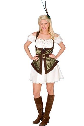 KARNEVALS-GIGANT Robin Hood Kostüm weiß-braun-grün für Damen | Größe 44/46 | 1-teiliges Mittelalter Kostüm | Räuberin Faschingskostüm für Frauen | Waldläuferin Kostüm für Karneval