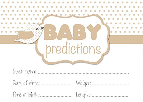 Baby Shower game, 'predictions'expectant mums, colore neutro, motivo a pois, unisex