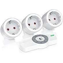 CSL - Funksteckdosen Set mit Fernbedienung | 3er Set für den Innenbereich / Indoor | bis zu 25m | LED-Statusanzeige (blau) | Kindersicherungsschutz | 3680W | IP20 | weiß