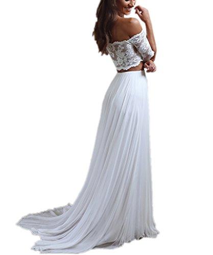 APXPF Damen Zweiteilige Chiffon- Strand Spitze Hochzeitskleid für die Braut Sweep Zug 6 Elfenbein