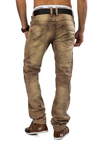 Herren Jeans · (Regular Fit) Helle Denim Jeanshose aus Stretch Material mit Dirty Bleached Waschung, geradem Bein (Straight Leg), Used · H1600 von Jaylvis Hellbraun