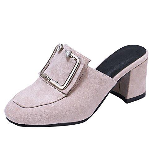 Mee Shoes Damen chunky heels Slingback Nubukleder Pantoletten Grau