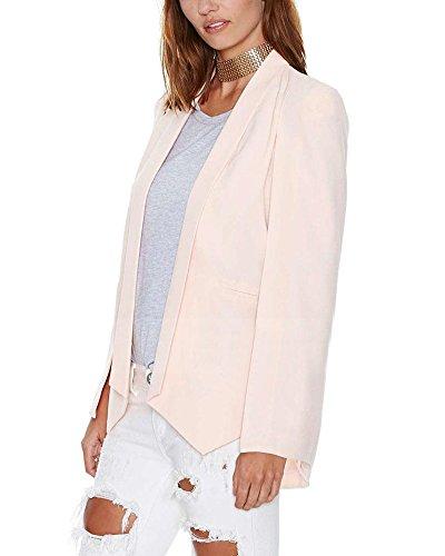 ZongSen Donna Elegante Slim Maniche Lunghe Aperto Davanti Cardigan Giacca Blazer Pink