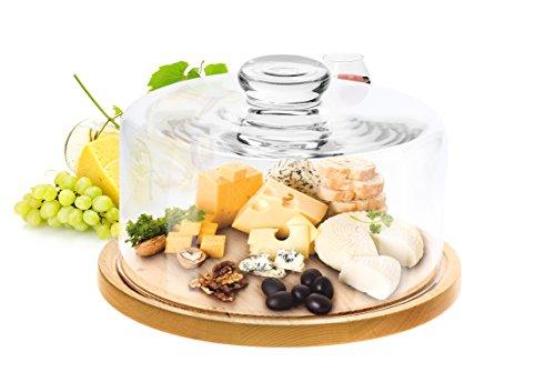 Cloche en verre Cloche à Fromage avec planche à découper 28 cm couvercle en verre transparent cloche à gâteau bois verre