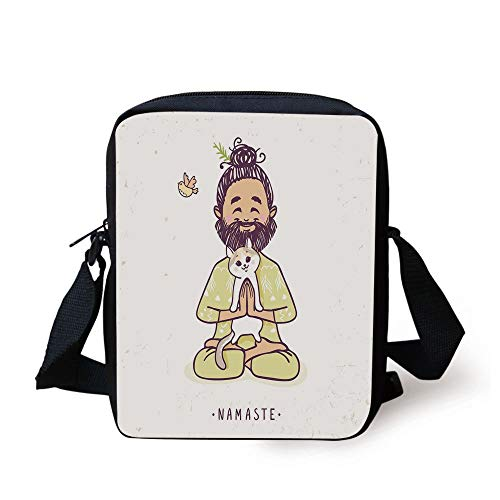 Funny,Positive Man with Cat in Yoga Greeting Pose Namaste Chakra Animal Love Design,Pale Green White Print Kids Crossbody Messenger Bag Purse