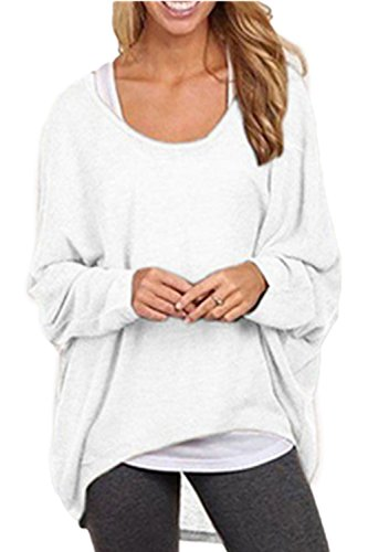 Frauen-lässig locker über Größe T Shirts White