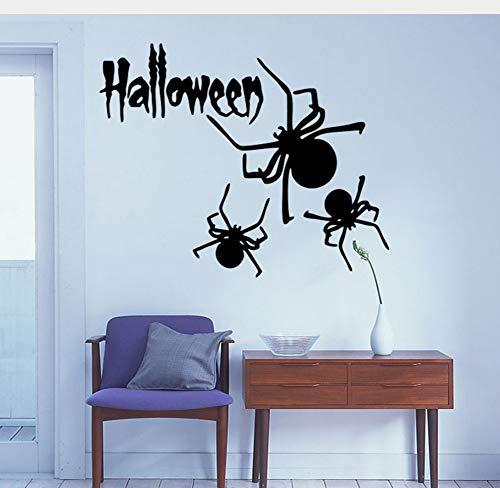 Spinne Tier Muster Festival Wandaufkleber Happy Halloween Wohnzimmer Schlafzimmer Fenster Schaufenster Wandaufkleber Wandbild Dekoration 57X36 Cm