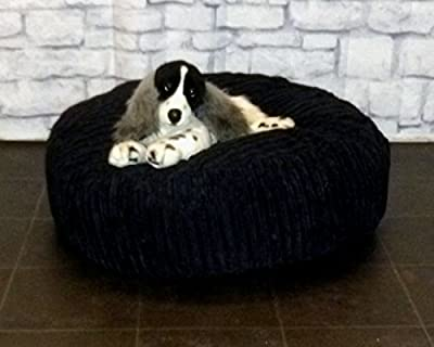 "Zippy Round Bean Bag Pet Dog Bed - 30"" diameter - Black Jumbo Cord Fabric - Beanbags"