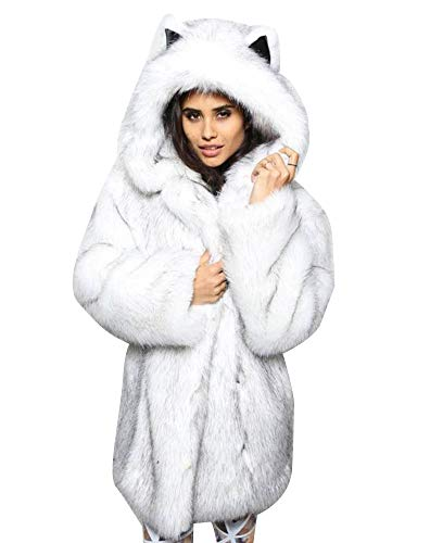 Giacca pelliccia sintetica donna con cappuccio inverno caldo cappotto lungo bianco nero 2xl