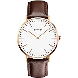 Amstt Mens Leather Belt Amstt Block Quartz Analogue Watch Men Women Sport Waterproof Watches Watch and Stainless Steel Case Rose Gold