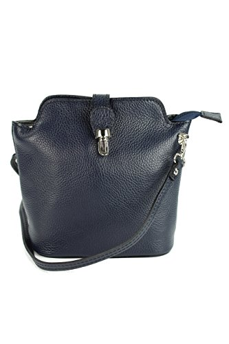 BELLI kleine edle ital. Leder Handtasche Umhängetasche Farbauswahl - 18x20x8 cm (B x H x T) (blau) (Nappa-leder Aktentasche)
