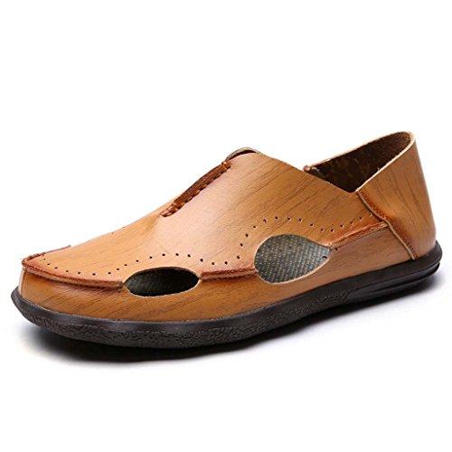 ZXCV Scarpe all'aperto Tide maschio moda leggera scarpe buco casual stile britannico in pelle morbida singola scarpe da uomo in pelle cava sandali driver scarpe basse scarpe da spiaggia Giallo
