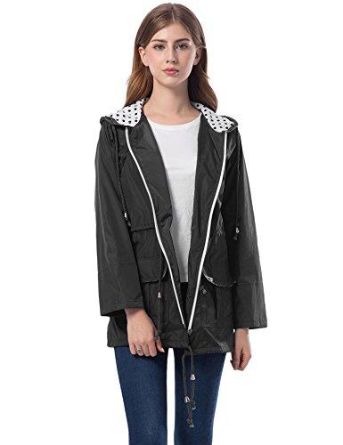 Regenjacke Damen Regenmantel Schwarz Sommerjacke Leichte Jacke Lang Funktionsjacke Wasserdicht Atmungsaktiv Windbreaker