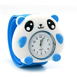 Top Quality New Cute Luminous Kids Boys Girls Silicone 3D Cartoon Animal Bendable Slap Watch Clap on Hand Gift Birthday Xmas - Blue Raccoon