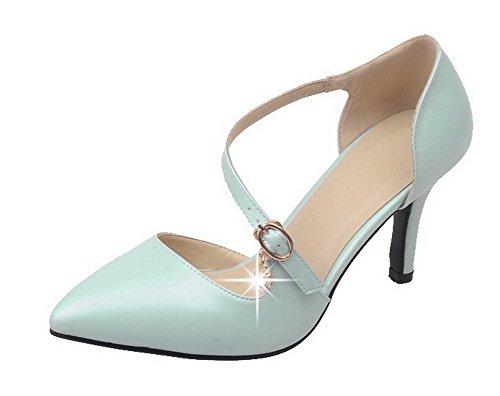 VogueZone009 Femme Pu Cuir Couleur Unie Boucle Pointu à Talon Haut Chaussures Légeres Bleu