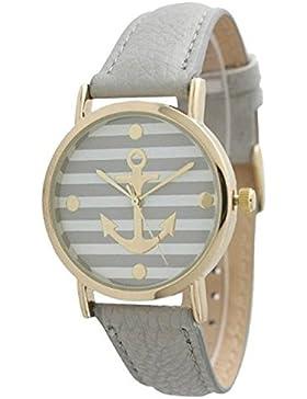 Minetom Vintage Blume Damen Anker Muster Quarz Armbanduhr Lederarmband Uhr Top Basel-Stil Rhinestones geometrischen...