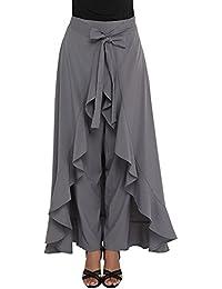 Nexona Creation Latest Stylish Ruffle Crepe Palazzo For Girls And Women High Waist Long Pants With Maxi-Skirt...
