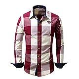 Herren Kariertes Plaid Hemd Langarm Oktoberfest Bügelfrei Baumwolle Slim Fit Trachtenhemd Cargo Bügelleicht Doppelfarbig Freizeithemd Business Party Shirt für Männer(Rot,EU-54/CN-XL)