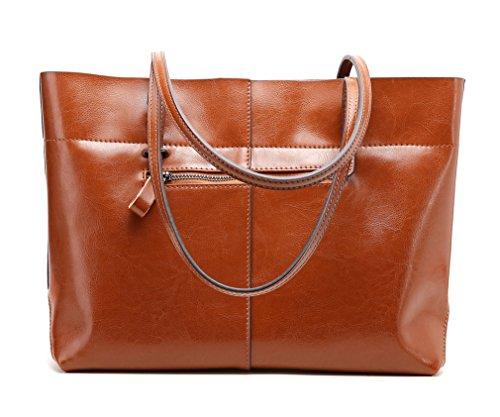 3c24c85561ad1 ... Panzexin Damen Echtes Leder Handtaschen Damen Henkeltaschen Elegante  Umhängetasche für Damen weibliche Schultertasche Braun ...