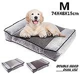 Pecute Camas para Perros Mascotas Pequeñas y Medianas, Colchón Perro Lavable Suave, 74X48X15cm Almohadas para Camas para Perros (M, Gris)