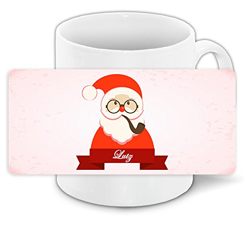 Tasse mit Namen Lutz und modernem Nikolaus-Motiv mit Brille und Pfeife - Tasse zu Weihnachten