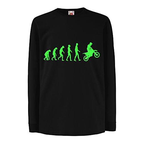 lepni.me T-Shirt Bambini/Ragazze Evoluzione Motocross, Moto Sporca, Maglia da Moto, Abbigliamento da Corsa, Moto da Fuoristrada (9-11 Years Nero Verde)