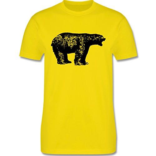 Tiermotive - Schwarzer Bär - L190 - Premium Männer Herren T-Shirt mit Rundhalsausschnitt Lemon Gelb