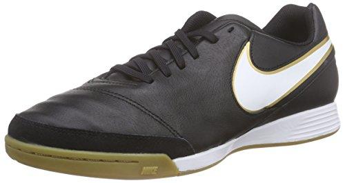 Nike Tiempo Genio II Leather IC, Herren Fußballschuhe, Schwarz (Black/White-Metallic Gold), 42.5 EU (8 Herren UK)