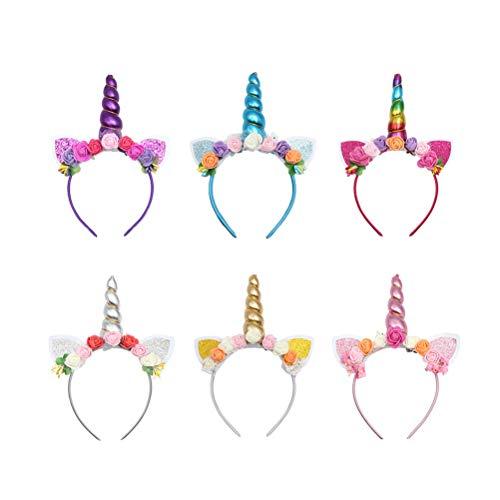 Toyvian Einhorn Stirnband für Mädchen, Blumen Einhorn Horn Stirnbänder für Mädchen Kostüme Cosplay, 6er Pack