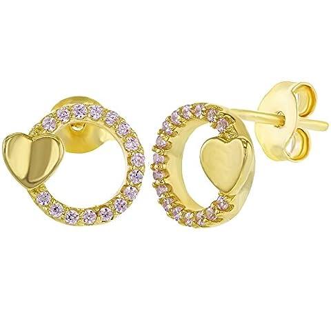 Argent sterling 925Rose CZ Cercle Cœur Boucles d'oreille à tige pour filles et adolescents