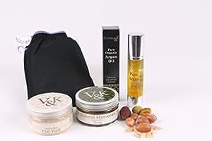 Victoria & K Set beauté peau et cheveux 100% naturel et bio Huile d'argan marocaine/masque à l'argile marocaine/savon à l'huile d'olive verte/gant de kessa