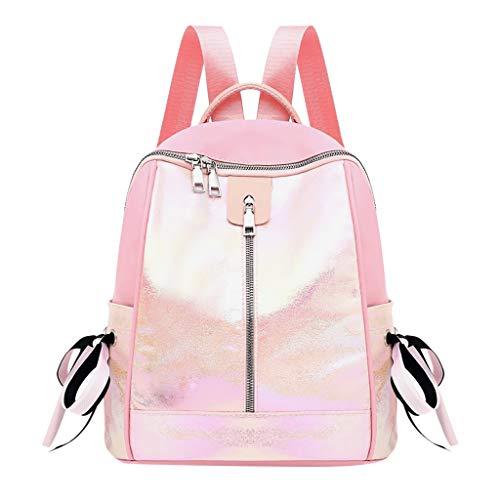 jfhrfged Damenmode helle Farbe Paket große Kapazität Computer Tasche Student Reißverschluss Rucksack Oxford Rucksack (Rosa) (Nike Rucksack Damen Pink)