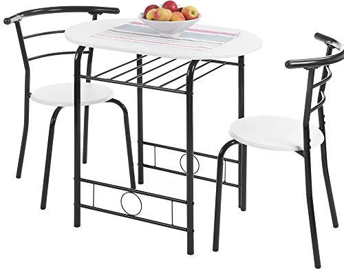 ts-ideen 3er Set Essgruppe Esstisch Küchen-Tisch aus Alugestell + MDF in Schwarz und Weiß 75 x 80 cm für Esszimmer Küche