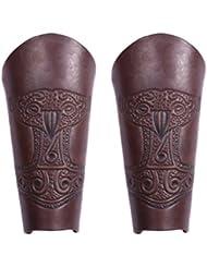 2x Guardabrazos (par) de piel con grabado Thor Martillo + Colgante Thors Martillo, Marrón–Rodilleras LARP Medieval Vikingo