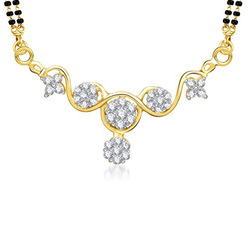 Amaal Mangalsutra Set Gold Pendant With Chain in American Diamond Jewellery For Women MS0771  available at amazon for Rs.190