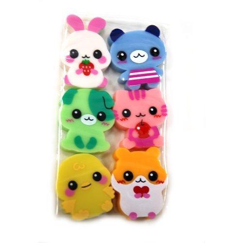 1 Set of 6 Pcs Scented Animal Erasers (Bunny Rabbit, Dog, Cat, Bear ....... Etc.), Cute and Fun. by Lemon, Japan
