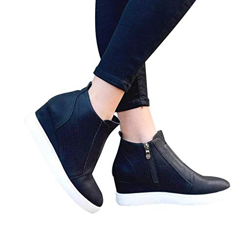 FIRENGOLI Damen Beiläufig Plateau Sneaker Ankle Boots Reißverschluss Wedge Schuhe Winter Stiefel Schwarz 36