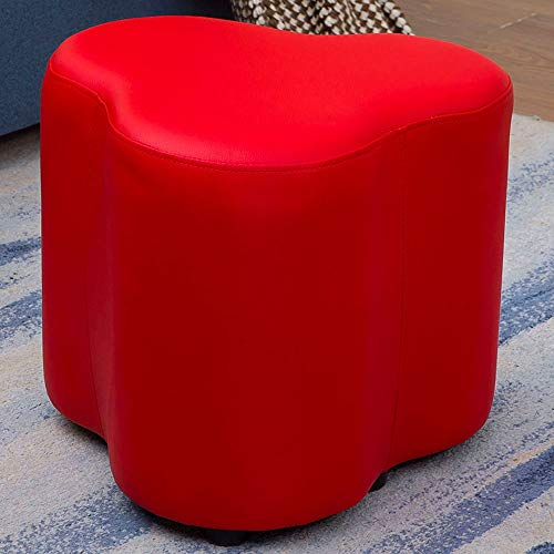 Wohnzimmer Modernen Osmanischen (Boosc Multi-functio Kreative Lederhocker Blume-förmigen Wohnzimmer Home Erwachsene Kleine Pier Sofa Bank Umkleidekabine Einfache Moderne Osmanische Schuhbank (Color : Red))